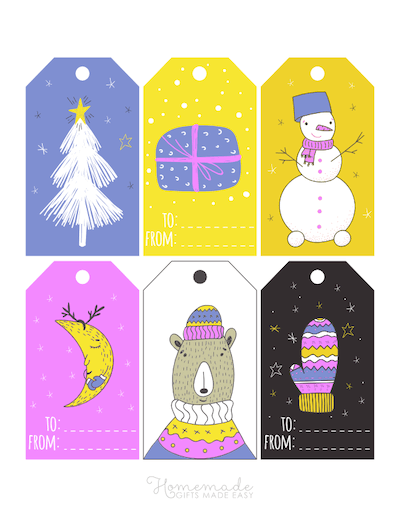 Printable Christmas Tags Bright Winter Purple Yellow Blue Bear Mittens Moon Tree Snowman Gift 6