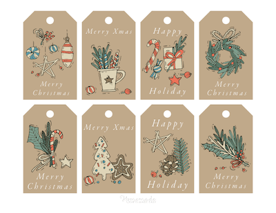 Printable Christmas Tags Brown Background Green Red Paper Festive Fir Wreath Holly Ornaments 8