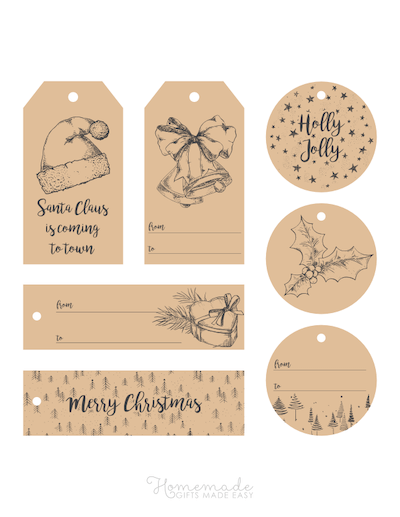 Printable Christmas Tags Brown Paper Pen Sketch Santa Hat Bells Holly Trees 7