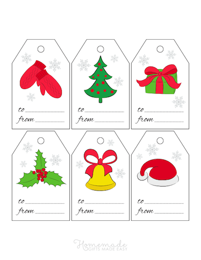 Printable Christmas Tags Clipart Mittens Santa Hat Tree Gift Holly Bell 6