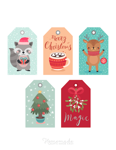 Printable Christmas Tags Colorful Cute Mistletoe Cocoa Tree Raccoon Deer Tree 5