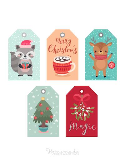 Printable Christmas Tags Colorful Cute Mistletoe Cocoa Tree Raccoon Deer Tree 5