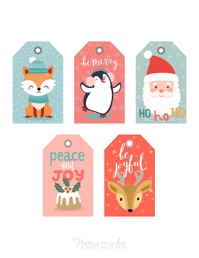 Printable Christmas Tags Colorful Cute Santa Pudding Penguin Deer Fox 5