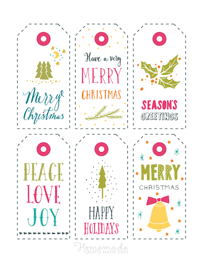 Printable Christmas Tags Colorful Peace Love Joy Simple 6