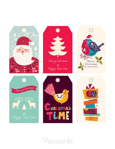Printable Christmas Tags Colorful Santa Tree Bird Deer Gifts 6