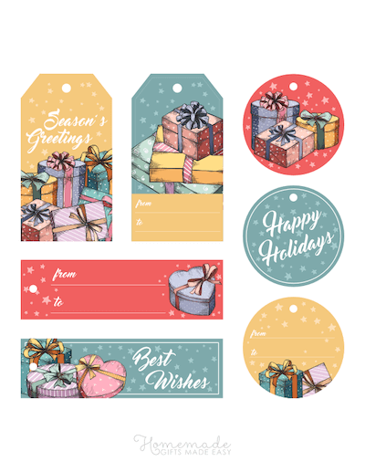 Printable Christmas Tags Colorful Sketch Circle Rectangle Wrapped Gifts 7