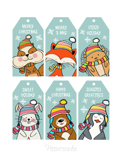 Printable Christmas Tags Cute Animals Winter Hats Scarfs Bright Colorful 6