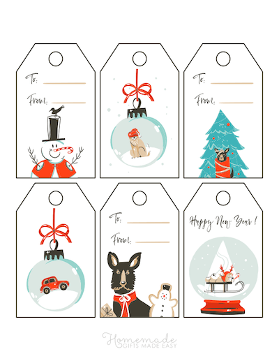 Printable Christmas Tags Cute Dogs Baubles Snowman Tree Gingerbread Snowglobe 6