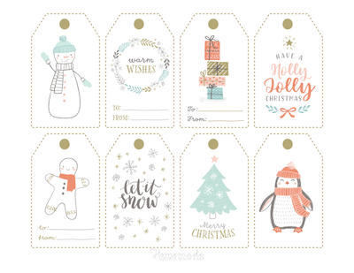 Printable Christmas Tags Cute Gold Pastel Snowman Gingerbread Holly Jolly Gifts Penguin Tree 8