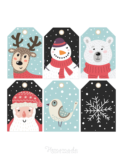 Printable Christmas Tags Cute Santa Reindeer Bear Bird Snowman Snowflake 6