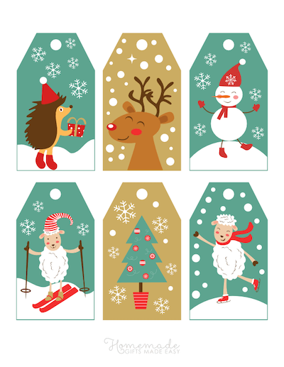 Printable Christmas Tags Cute Winter Animals Snow 6