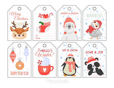 Printable Christmas Tags Cute Winter Deer Stocking Bear Bird Cocoa Ornaments Penguin Panda 8