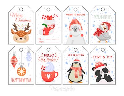 Printable Christmas Tags Cute Winter Deer Stocking Bear Bird Cocoa Ornaments Penguin Panda 8