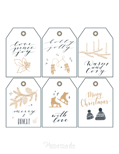 Printable Christmas Tags Gold Black Ice Skates Mittens Holly Candles Pinecones Hats 6