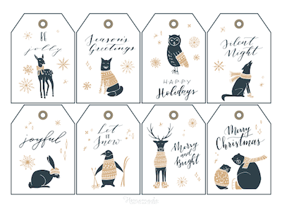 Printable Christmas Tags Gold Black Woodland Animals Sweaters 8