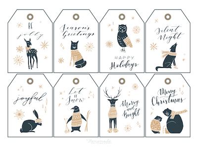 Printable Christmas Tags Gold Black Woodland Animals Sweaters 8