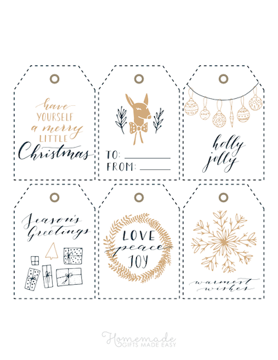 Printable Christmas Tags Gold Black Wreath Gifts Deer Ornaments Snowflake Sentiments 6