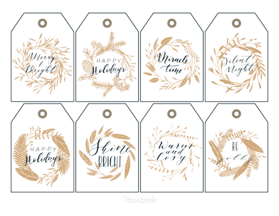 Printable Christmas Tags Gold Black Wreaths Sentiments 8