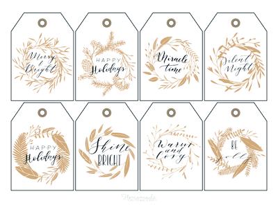 Printable Christmas Tags Gold Black Wreaths Sentiments 8