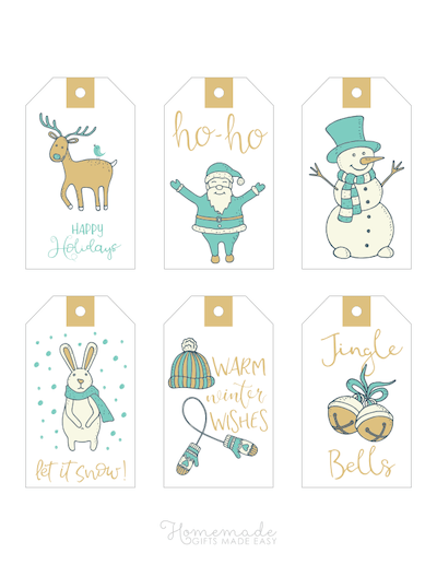Printable Christmas Tags Gold Blue Hand Drawn Deer Santa Snowman Rabbit Mittens Bells 6