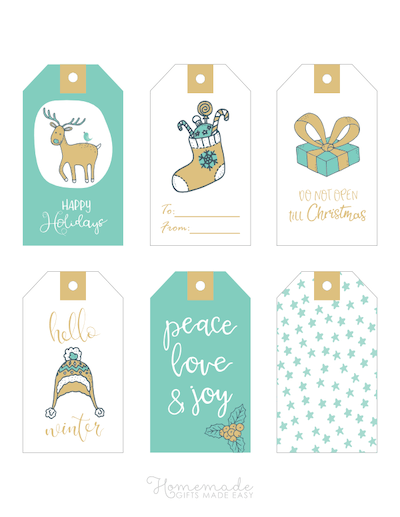 Printable Christmas Tags Gold Blue Hand Drawn Deer Stocking Gift Hat Holly Stars 6