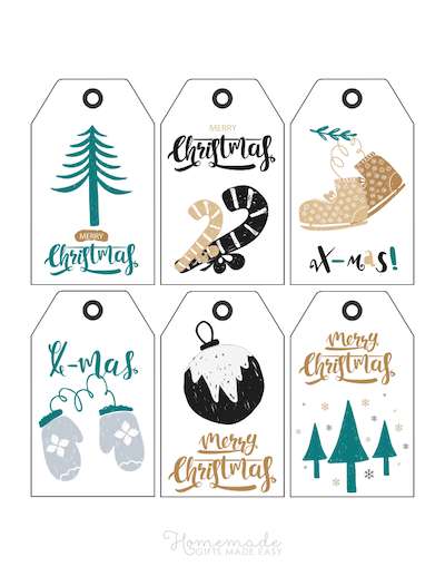 Printable Christmas Tags Green Black Gold Mittens Tree Bauble Candy Canes Skates 6