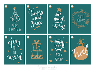 Printable Christmas Tags Green Gold White Tree Wreath Cocoa Ornaments Gifts Sentiments 8