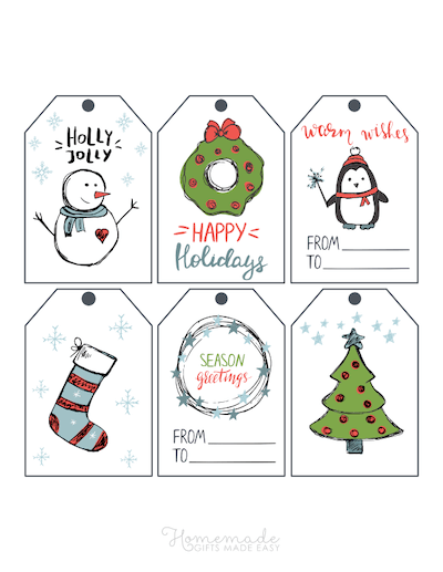 Printable Christmas Tags Hand Drawn Blue Green Stocking Wreath Bells Snowman