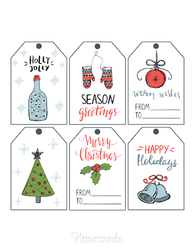 Printable Christmas Tags Hand Drawn Blue Green Tree Bells Holly Lights Mittens Bauble 6