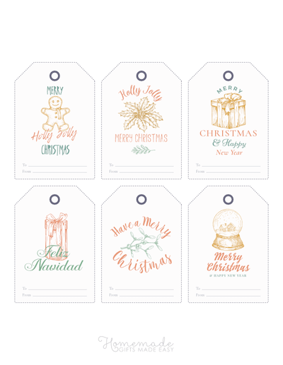 Printable Christmas Tags Hand Drawn Gingerbread Holly Gifts Snowglobe 6