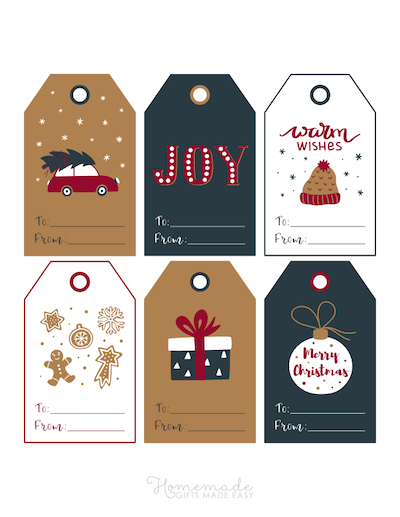 Printable Christmas Tags Navy Red White Gingerbread Car Tree Gift Hat Bauble Joy 6
