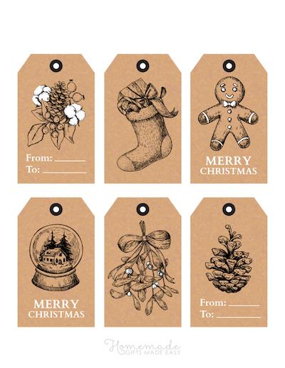 Printable Christmas Tags Paper Sketch Pine Cone Snowglobe Mistletoe Gingerbread Stocking 6