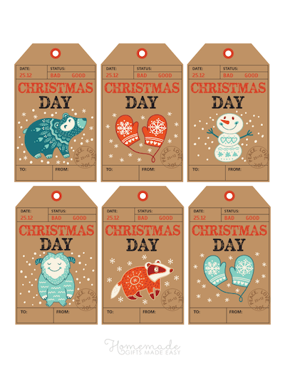 Printable Christmas Tags Paper Travel Stamped Bear Mittens Snowman 6