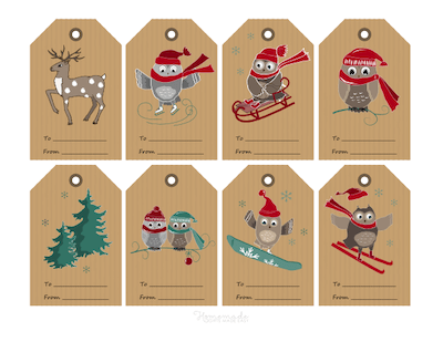 Printable Christmas Tags Paper Woodland Owls Deer Tree Skating Skiing Snowboarding Tobogganing 8