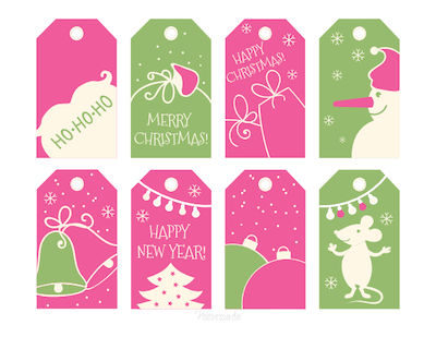 Printable Christmas Tags Pink Green Bells Santa Gifts Tree Mouse Snowman Baubles 8