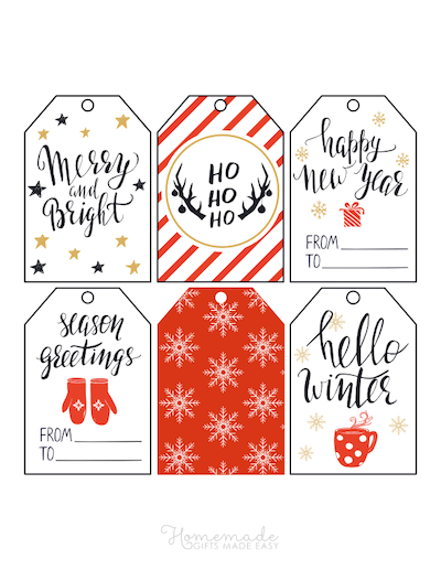 Printable Christmas Tags Red Black Gold Snowflakes Mittens Hot Cocoa Deer Swirly Font 6