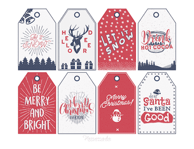 Printable Christmas Tags Red Blue Deer Snow Cocoa Santa Snowman Sentiments 8