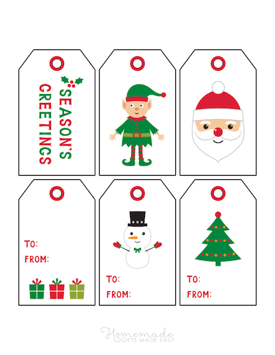 Printable Christmas Tags Red Green Clipart Style Snowman Tree Elf Santa Gifts 6