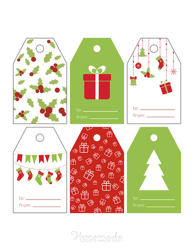 Printable Christmas Tags Red Green Holly Gifts Ornaments Stockings Tree 6