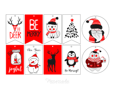 Printable Christmas Tags Red White Black Santa Deer Joyful Cat Snowman Candle Penguin Santa Bear 10