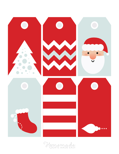 Printable Christmas Tags Red White Blue Santa Tree Stocking Stripes Zig Zags 6