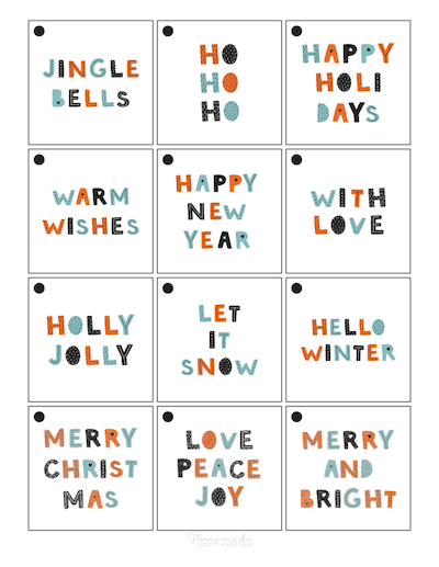 Printable Christmas Tags Scandi Font Sentiments Square Set 12