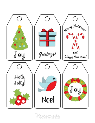 Printable Christmas Tags Simple Holly Bird Wreath Tree Gifts Candy Canes 6
