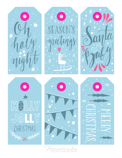 Printable Christmas Tags Snow Blue Pink Cute Font 6