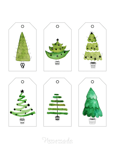 Printable Christmas Tags Watercolor Christmas Trees Greens 6