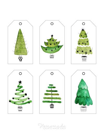 Printable Christmas Tags Watercolor Christmas Trees Greens 6