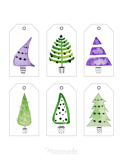 Printable Christmas Tags Watercolor Christmas Trees Greens Purples 6