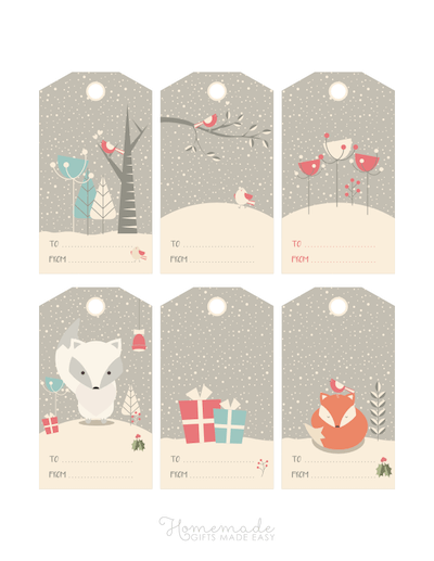 Printable Christmas Tags Woodland Winter Grey Snowing 6