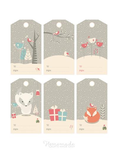 Printable Christmas Tags Woodland Winter Grey Snowing 6