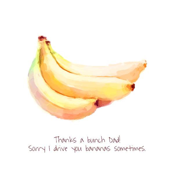 printable father's day cards - Thanks a Bunch (bananas)
